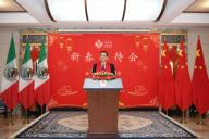 (200126) -- MEXICO, Jan. 26, 2020 (Xinhua) -- Chinese Ambassador to Mexico Zhu Qingqiao addresses a reception celebrating the Chinese Lunar New Year in Mexico City, Mexico, on Jan. 21, 2020. (Xinhua/Xin Yuewei)