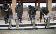 (200331) -- MEHTARLAM, March 31, 2020 (Xinhua) -- Workers prepare to disinfect a mosque in Mehtarlam, capital of east Afghanistan
