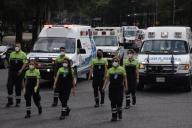 (200531) -- MEXICO CITY, May 31, 2020 (Xinhua) -- Paramedics take part in a parade to commemorate the medical personnel died in the COVID-19 pandemic in Mexico City, Mexico, May 30, 2020. (Photo by Sunny Quintero\/Xinhua)