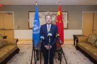 (200924) -- NEW YORK, Sept. 24, 2020 (Xinhua) -- Zhang Jun, China\'s permanent representative to the United Nations, speaks during a press briefing in New York, Sept. 22, 2020. (Xinhua\/Wang Ying