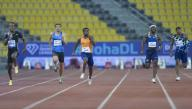 (200926) -- DOHA, Sept. 26, 2020 (Xinhua) -- Cote d\'Ivoire\'s Arthur Cisse (C) competes during the men\'s 200m final at the 2020 Diamond League Athletics Meeting in Doha, Qatar, Sept. 25, 2020. (Photo by Nikku\/Xinhua