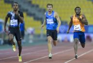 (200926) -- DOHA, Sept. 26, 2020 (Xinhua) -- Cote d\'Ivoire\'s Arthur Cisse (R) competes during the men\'s 200m final at the 2020 Diamond League Athletics Meeting in Doha, Qatar, Sept. 25, 2020. (Photo by Nikku\/Xinhua