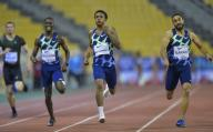 (200926) -- DOHA, Sept. 26, 2020 (Xinhua) -- Kahmari Montgomery (2nd R) of the United States competes during the men\'s 400m final at the 2020 Diamond League Athletics Meeting in Doha, Qatar, Sept. 25, 2020. (Photo by Nikku\/Xinhua