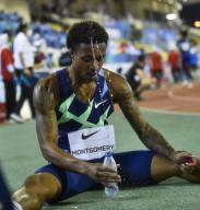 (200926) -- DOHA, Sept. 26, 2020 (Xinhua) -- Kahmari Montgomery of the United States reacts after the men\'s 400m final at the 2020 Diamond League Athletics Meeting in Doha, Qatar, Sept. 25, 2020. (Photo by Nikku\/Xinhua