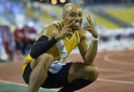 (200926) -- DOHA, Sept. 26, 2020 (Xinhua) -- Aaron Mallet of the United States celebrates after the men\'s 110m hurdles final at the 2020 Diamond League Athletics Meeting in Doha, Qatar, Sept. 25, 2020. (Photo by Nikku\/Xinhua