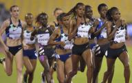 (200926) -- DOHA, Sept. 26, 2020 (Xinhua) -- Hellen Obiri (1st R) of Kenya competes during the women\'s 3000m final at the 2020 Diamond League Athletics Meeting in Doha, Qatar, Sept. 25, 2020. (Photo by Nikku\/Xinhua