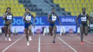 (200926) -- DOHA, Sept. 26, 2020 (Xinhua) -- Elaine Thompson-Herah (2nd L) of Jamaica competes during the women\'s 100m final at the 2020 Diamond League Athletics Meeting in Doha, Qatar, Sept. 25, 2020. (Photo by Nikku\/Xinhua