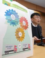 Industrial output dips most in 9 years in Feb. Ahn Hyung-joon, a Statistics Korea official, holds a press conference at the government complex in Sejong, central South Korea, on March 31, 2020, to announce that South Korea